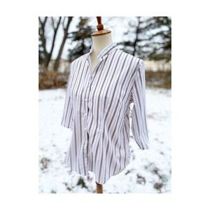 Y2K Maternity Shirt Business Casual Stripes Button